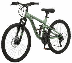 "24"" Mens Full Shock Frame Mountain Bike 24-Inch Wheels 21-Sp"