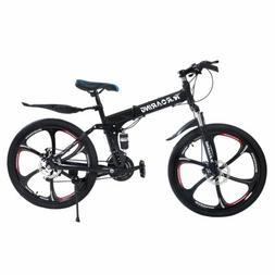 """26""""Folding Mountain Bike Folding 21 Speed Bicycle Suspension"""