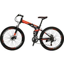 "27.5"" Folding Mountain Bike 21 Speed Full Suspension Foldabl"