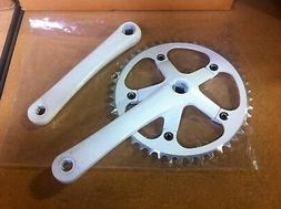 Alloy White Bicycle Crank Set 46T X 170MM Single Speed Track