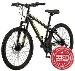 Mongoose Excursion Boys Mountain Bike 24-inch 21 Speed Neon
