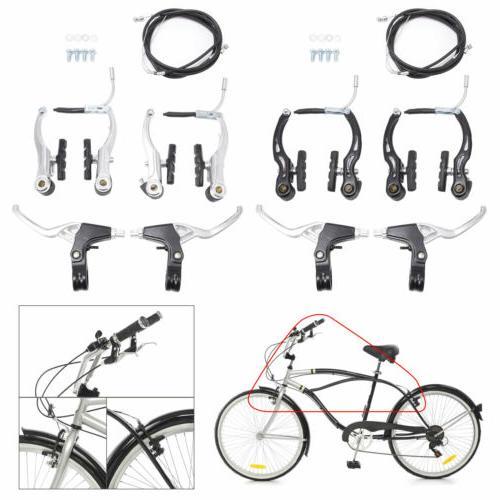 2pcs Bike Brake Levers Front Rear Brakes Cables Set For BMX
