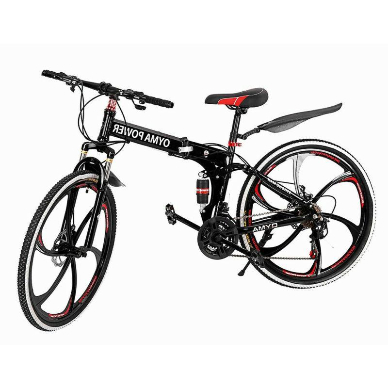 Folding Mountain Bike 21 Speed Bicycle Unisex 26inch Full Su