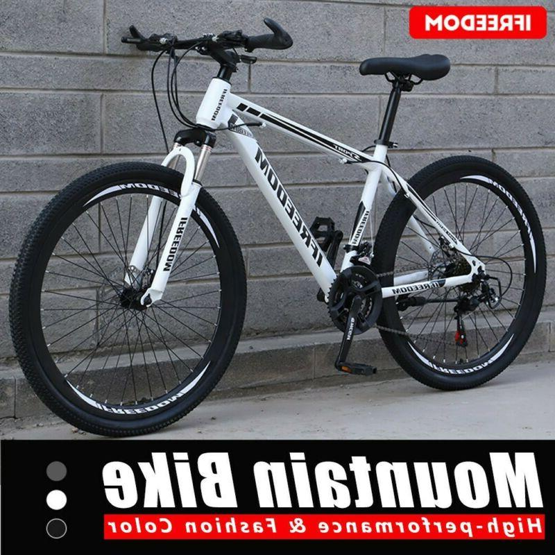 26in Carbon Steel Mountain Bike 21 Speed Bicycle Full Suspen