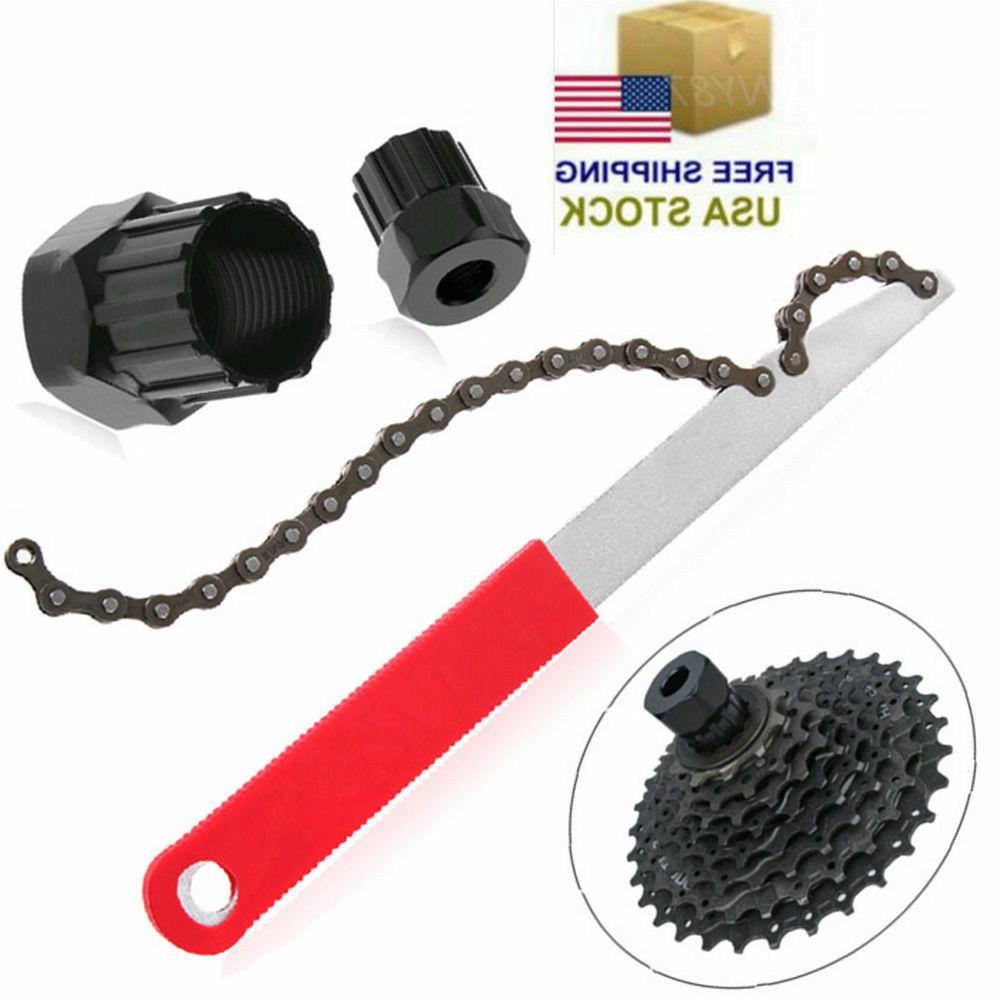 MTB Bike Bicycle Sprocket Lock Remover Tool Cassette Freewheel Chain Whip Kit US