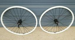 """White 26"""" mountain bike wheels 6 bolt disc mach1 ER20"""